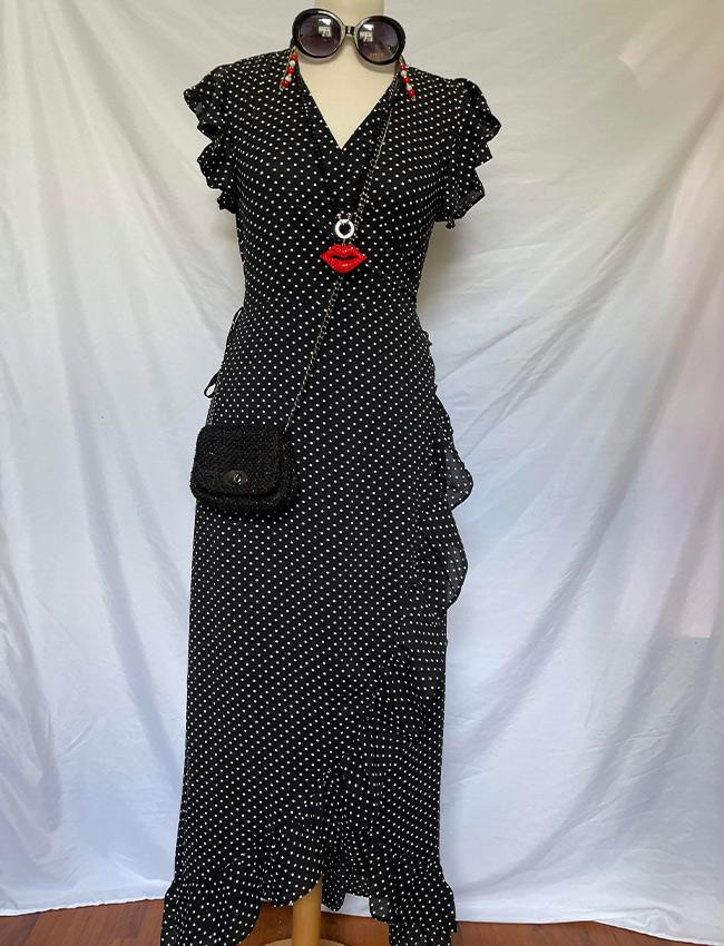 Kleid in Schwarz und Taubenblau